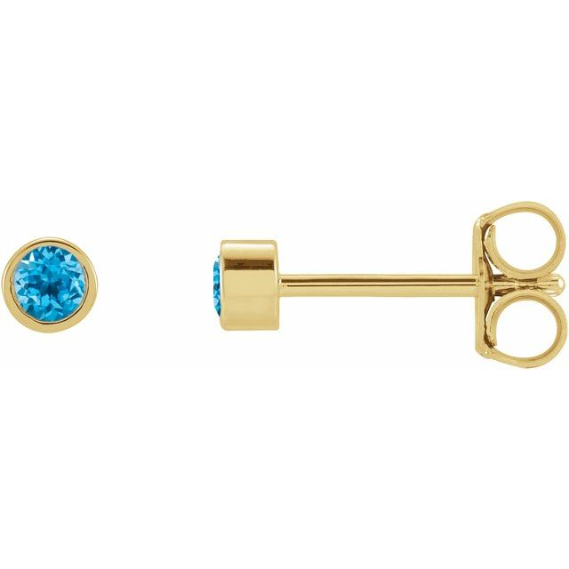 14K Yellow 2 mm Round Swiss Blue Topaz Micro Bezel-Set Earrings