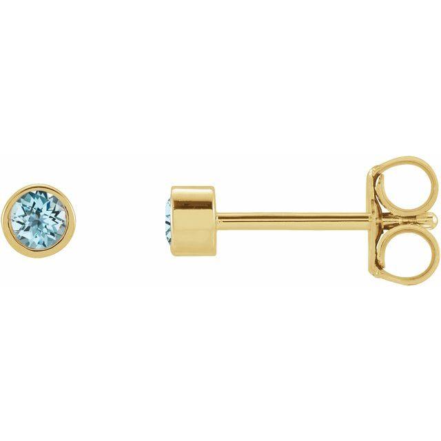 14K Yellow 2.5 mm Round Sky Blue Topaz Micro Stud Earrings