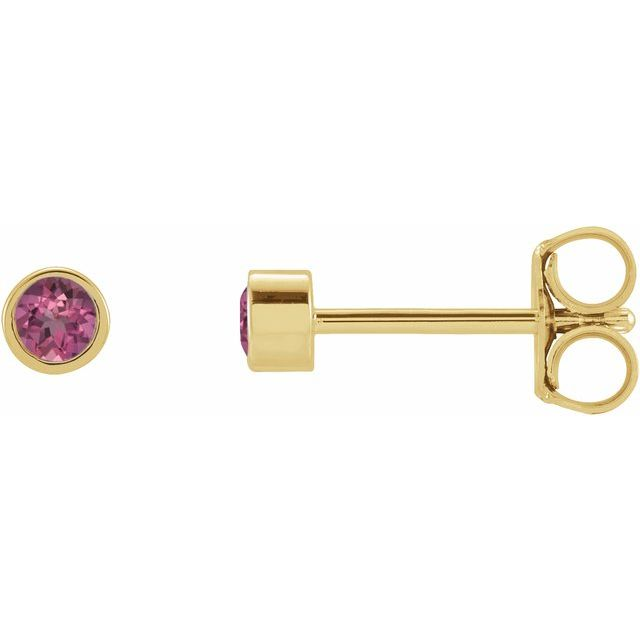 14K Yellow 2 mm Round Natural Pink Tourmaline Micro Bezel-Set Earrings