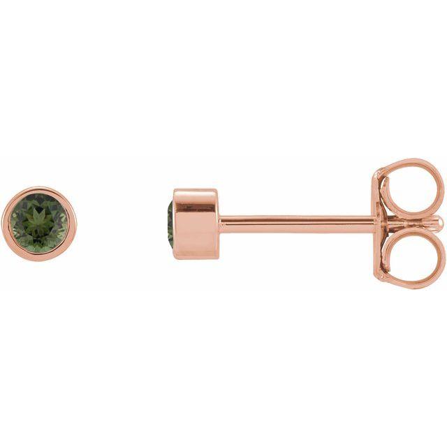 14K Rose 2 mm Round Natural Green Tourmaline Micro Bezel-Set Earrings