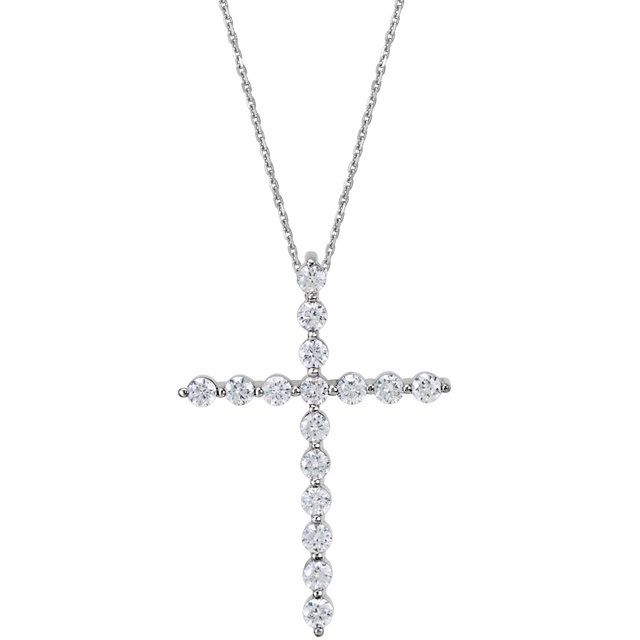 14K White 1/4 CTW Diamond Cross 18