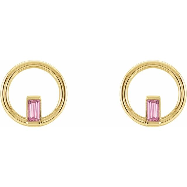 14K Yellow Pink Tourmaline Baguette Circle Earrings