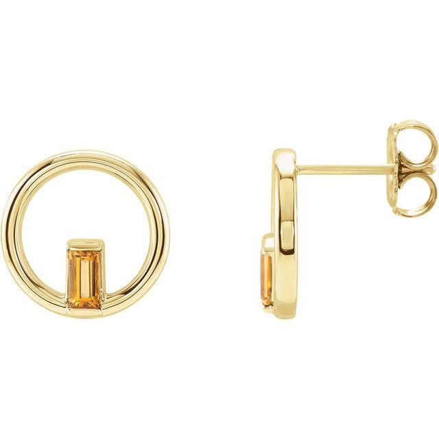14K Yellow Citrine Baguette Circle Earrings