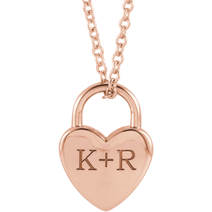 Personalized Jewelry | Rose Gold Engravable heart locket