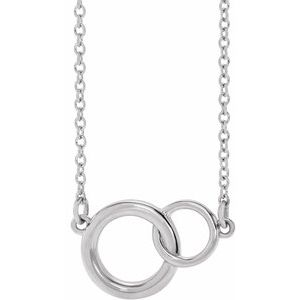 "14K White 15.5x9.7 mm Interlocking Circle 16-18"" Necklace"
