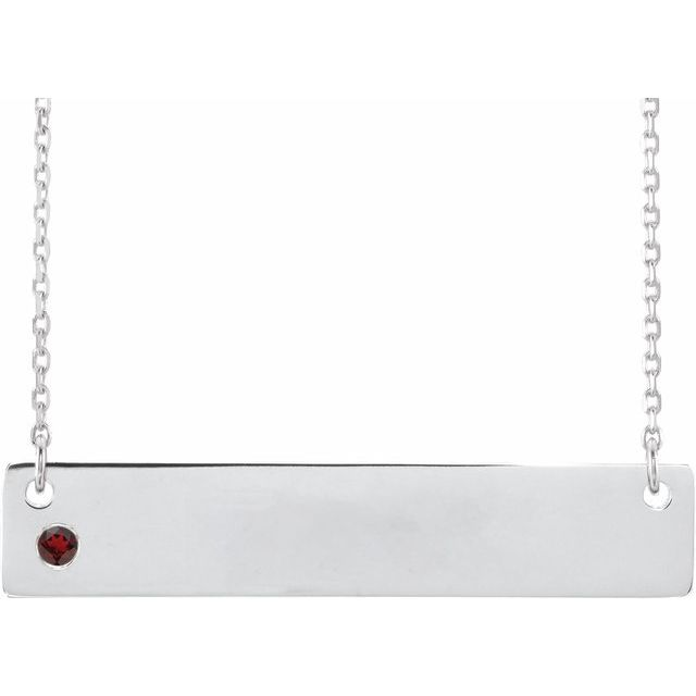 Sterling Silver Mozambique Garnet Family Bar 16-18