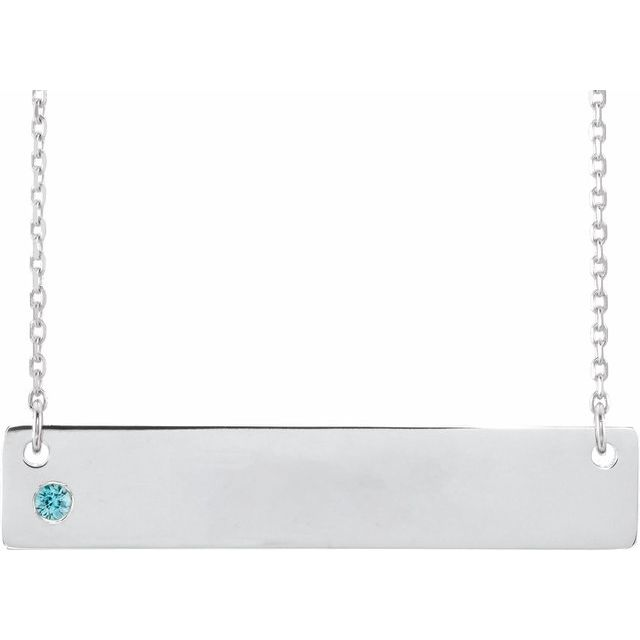 Sterling Silver Blue Zircon Family Bar 16-18