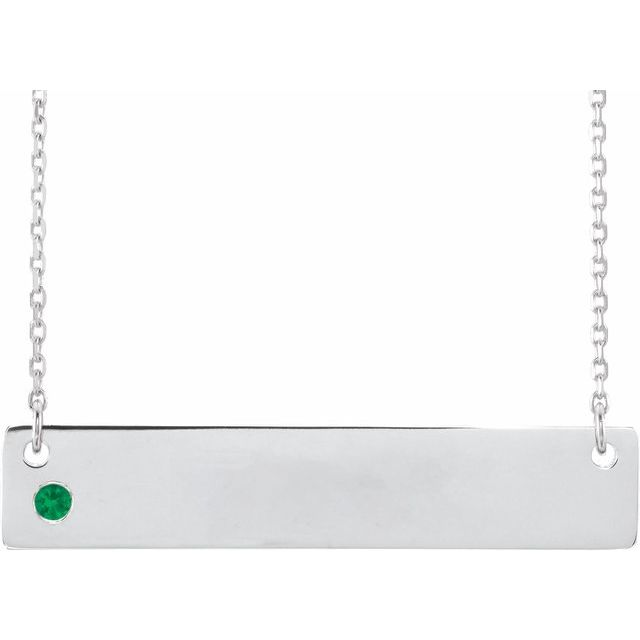 Sterling Silver Natural Emerald Family Bar 16-18