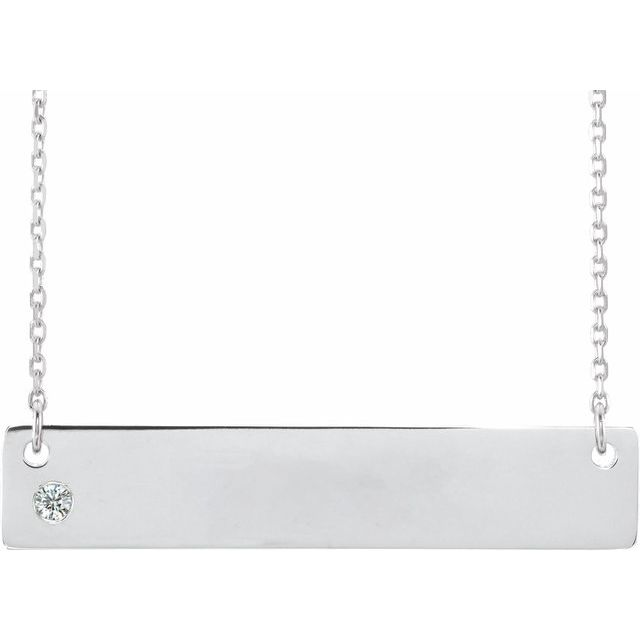 Sterling Silver .03 CTW Diamond Family Bar 16-18