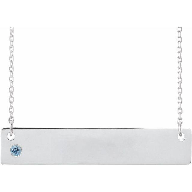 Sterling Silver Aquamarine Family Bar 16-18