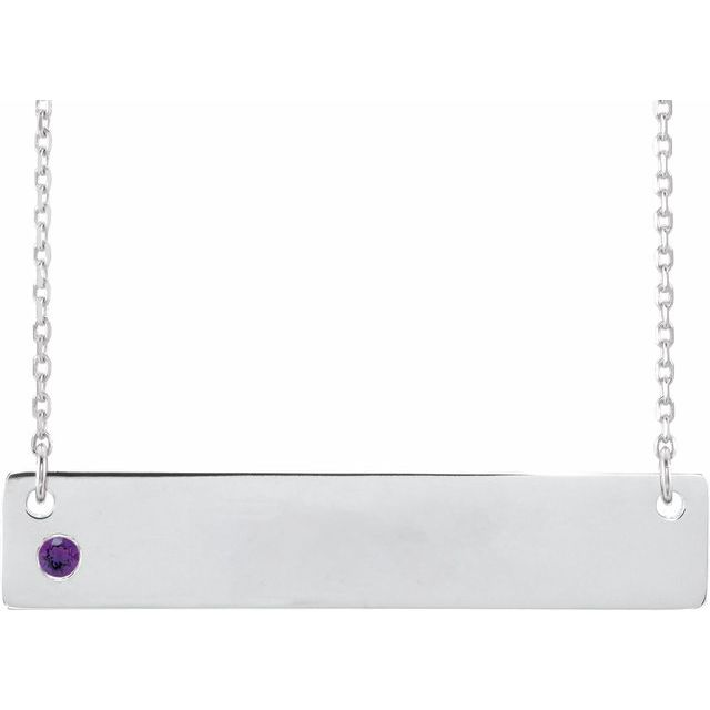 Sterling Silver Amethyst Family Bar 16-18
