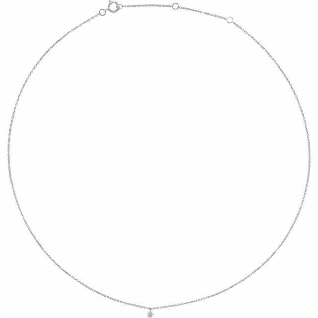 14K White 1/6 CT Drilled Diamond Solitaire 16-18