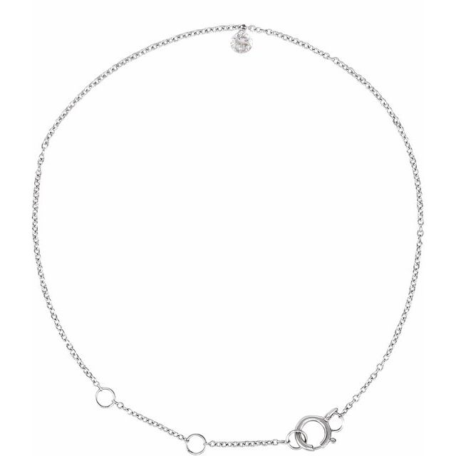 14K White 1/6 CT Drilled Diamond Solitaire 6 1/2-7 1/2