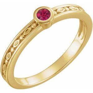 14K Yellow Ruby Family Stackable Ring