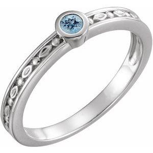 14K White Aquamarine Family Stackable Ring