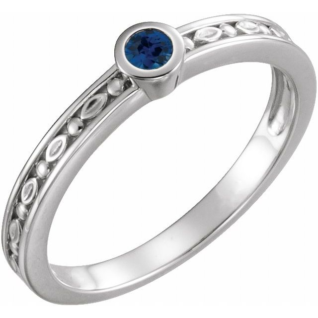 14K White Blue Sapphire Family Stackable Ring