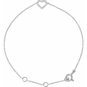 """14K White .06 CTW Diamond Heart 7"""" Bracelet"""