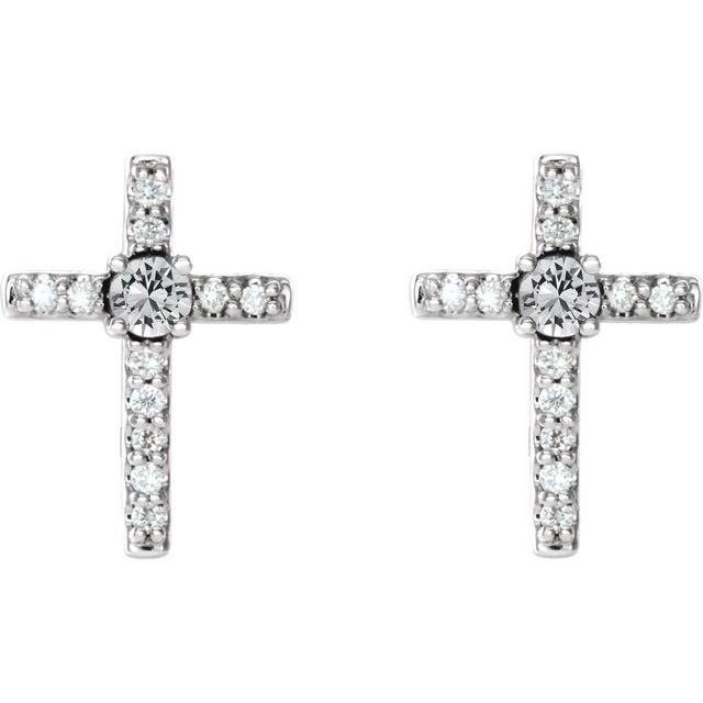 14K White 1/8 CTW Diamond Cross Earrings