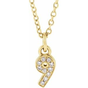 "14K Yellow .04 CTW Diamond Numeral 9 16-18"" Necklace"