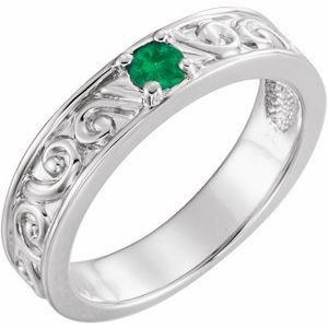 Sterling Silver Lab-Grown Emerald Stackable Family Ring