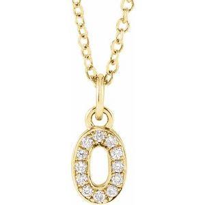 "14K Yellow .04 CTW Diamond Numeral 0 16-18"" Necklace"