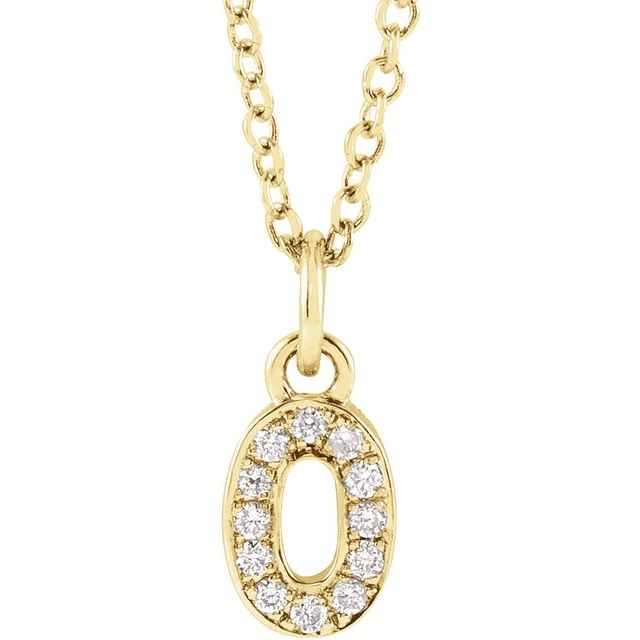 14K Yellow .04 CTW Diamond Numeral 0 16-18