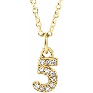 "14K Yellow .04 CTW Diamond Numeral 5 16-18"" Necklace"