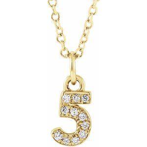 "14K Yellow .04 CTW Diamond Numeral 5 16-18"" Necklace"