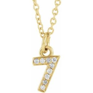 "14K Yellow .03 CTW Diamond Numeral 7 16-18"" Necklace"