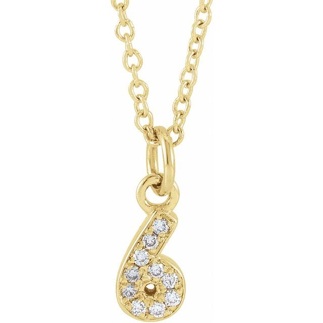 14K Yellow .04 CTW Diamond Numeral 6 16-18