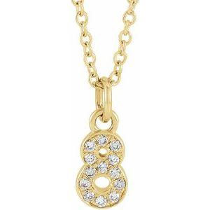"14K Yellow .05 CTW Diamond Numeral 8 16-18"" Necklace"