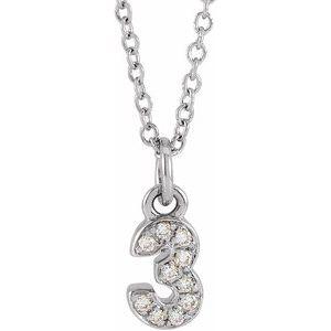 "14K White .04 CTW Diamond Numeral 3 16-18"" Necklace"