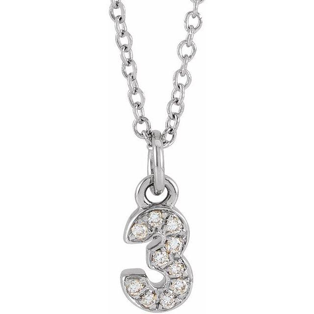 14K White .04 CTW Diamond Numeral 3 16-18