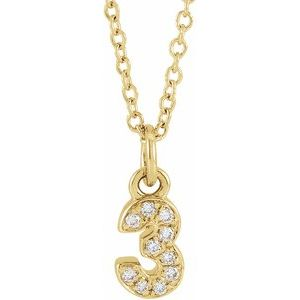 "14K Yellow .04 CTW Diamond Numeral 3 16-18"" Necklace"