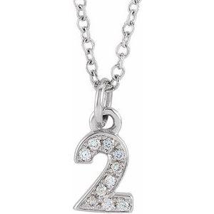 "14K White .03 CTW Diamond Numeral 2 16-18"" Necklace"