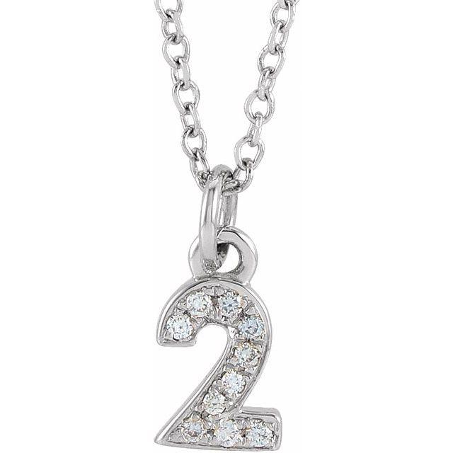 14K White .03 CTW Diamond Numeral 2 16-18