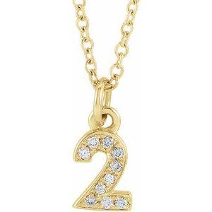 "14K Yellow .03 CTW Diamond Numeral 2 16-18"" Necklace"