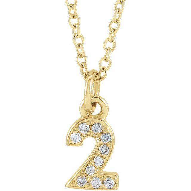 14K Yellow .03 CTW Diamond Numeral 2 16-18