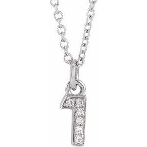 "14K White .02 CTW Diamond Numeral 1 16-18"" Necklace"