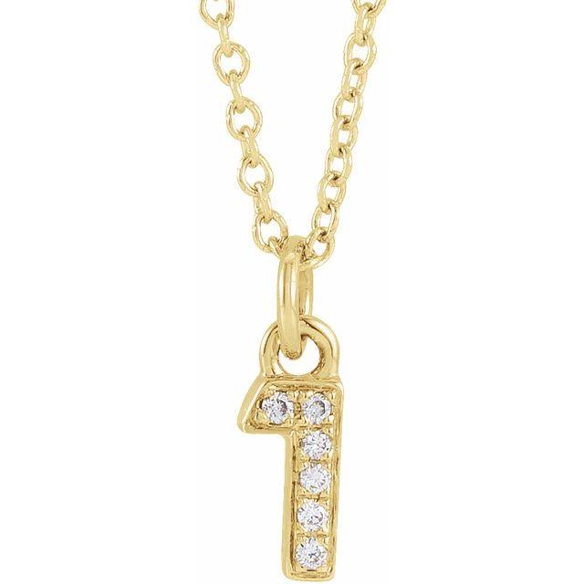 14K Yellow .02 CTW Diamond Numeral 1 16-18