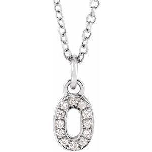 "14K White .04 CTW Diamond Numeral 0 16-18"" Necklace"