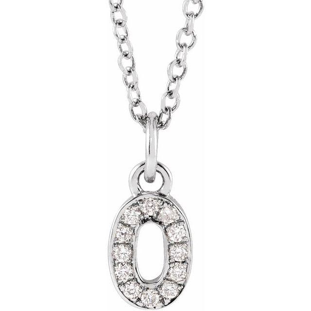 14K White .04 CTW Diamond Numeral 0 16-18