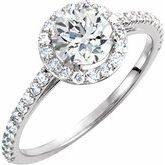 Charles & Colvard Moissanite® & Diamond Accented Halo-Style Engagement Ring or Band