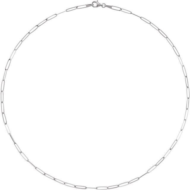 14K White 2.6 mm Elongated Link 20