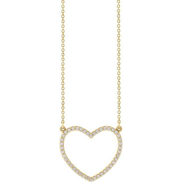 14K Yellow 1/4 CTW Diamond Heart 16