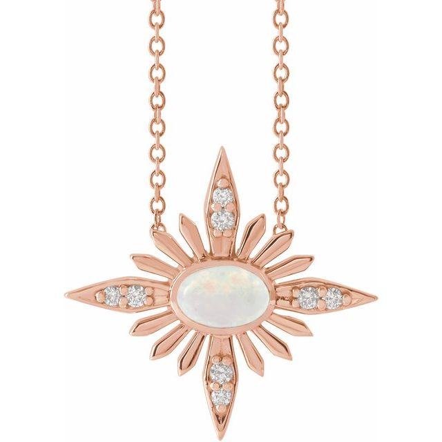 14K Rose Ethiopian Opal & .08 CTW Diamond Celestial 16-18