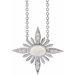 "Sterling Silver Ethiopian Opal & .08 CTW Diamond Celestial 16-18"" Necklace"
