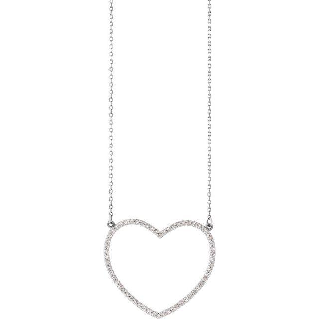 14K White 3/8 CTW Diamond Large Heart 16