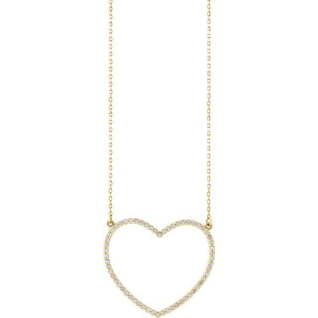 14K Yellow 3/8 CTW Diamond Large Heart 16