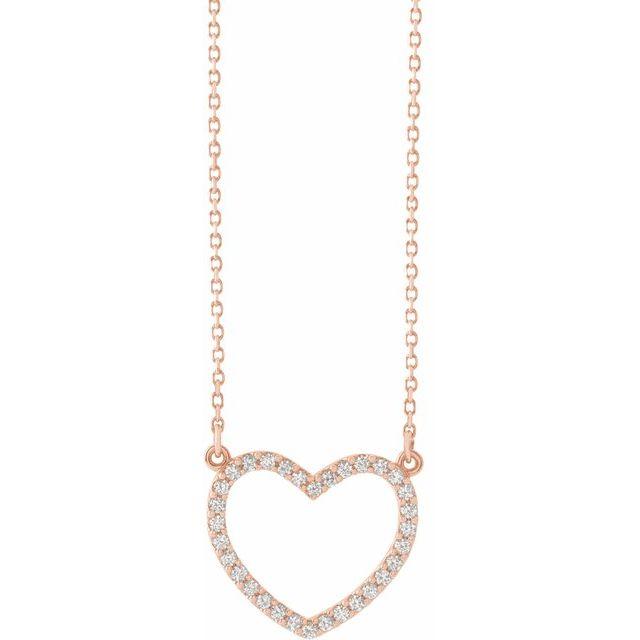 14K Rose 1/5 CTW Diamond Small Heart 16